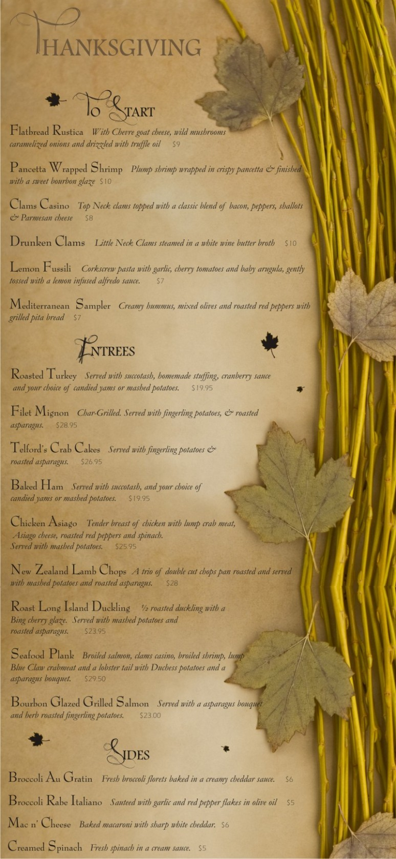 thanksgiving 2013 menu